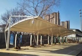 汽车停车棚-衡水市供电服务公司充电桩膜结构