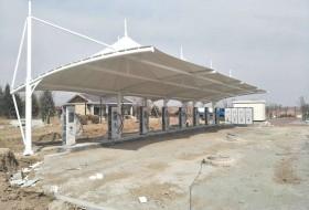 膜结构车棚–张家口市电动汽车公司充电桩膜结构车棚二期