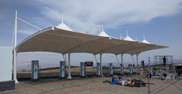 张拉膜结构工程-张家口尚义县充电桩遮阳车棚竣工