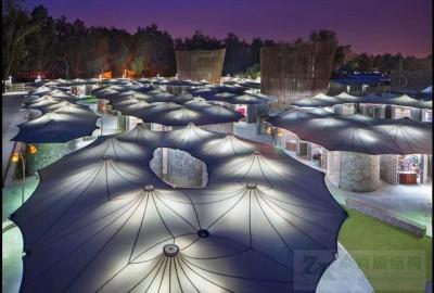 2020膜结构遮阳雨棚图片