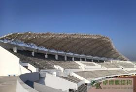 广东东莞横沥镇 膜结构广场舞台遮阳雨棚吊装完工