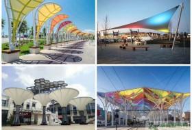 膜结构广场遮阳棚//公园景观棚亭造型工程
