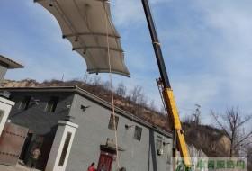 山西灵石县饲料储存罐膜结构遮阳棚