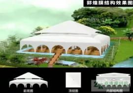 甘肃敦煌酒店膜结构餐厅火热施工中