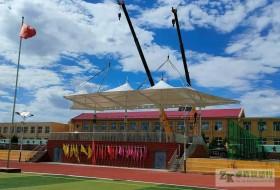 张家口阳原县第二中学膜结构体育看台竣工