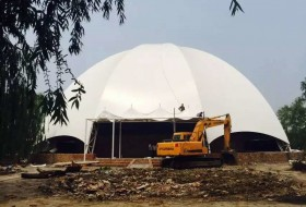 保定水上乐园遮阳棚图片-大型遮阳膜结构
